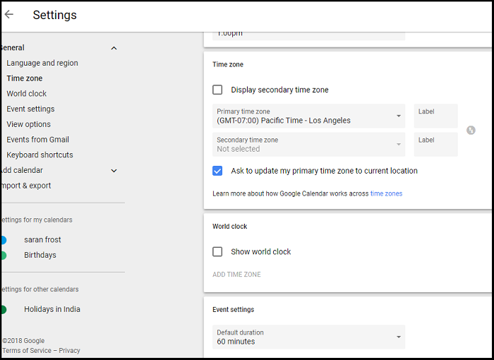 change custom Time Zone in Gmail