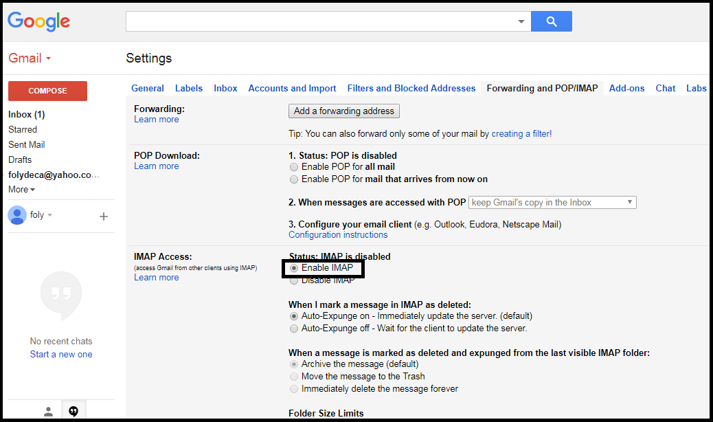 Read Gmail Messages in your Email Program using IMAP