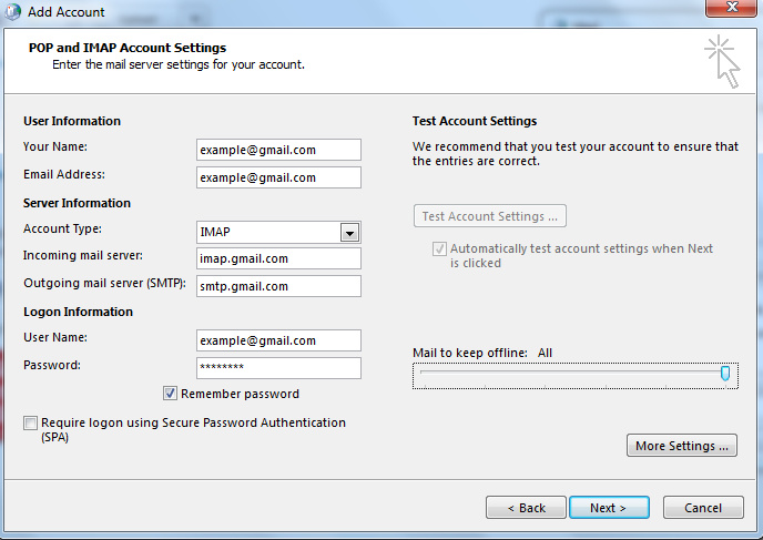 Generate an Application Specific Password for POP/IMAP in Gmail