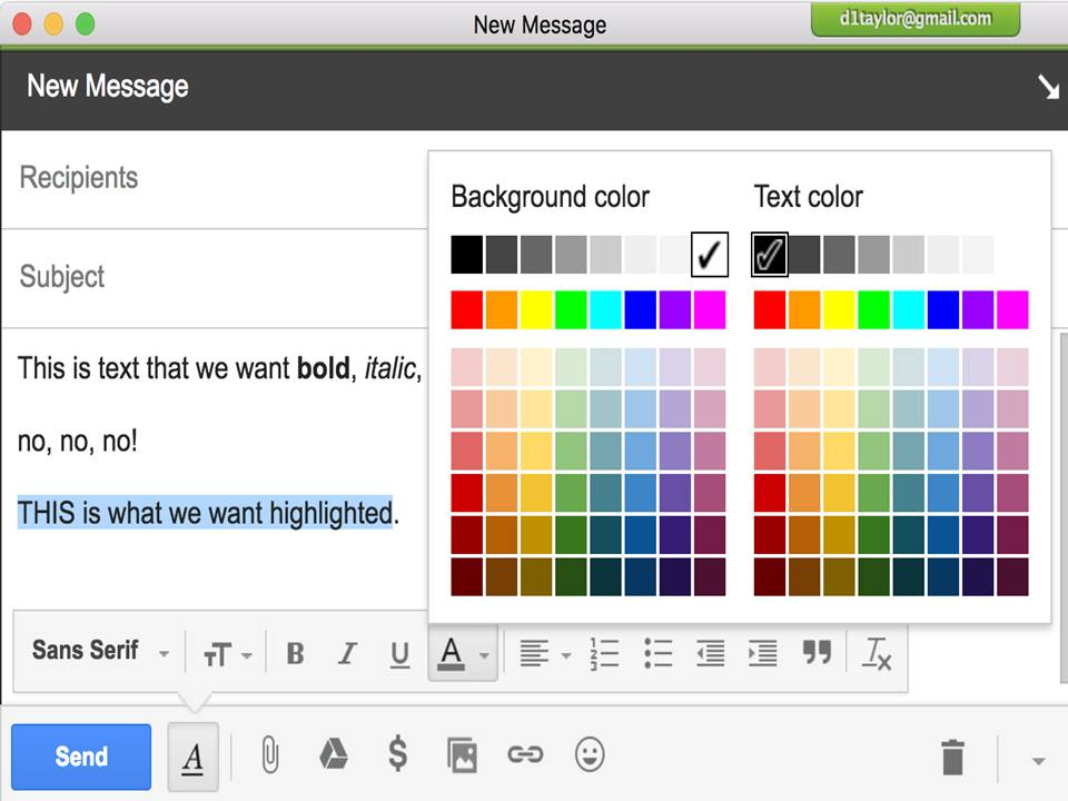 Change Font color, Size, Face And Background Color in Gmail Get-help for